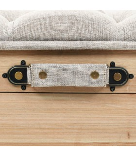 Fotoliu pouf tricotat manual, iută și bumbac, 50 x 35 cm, alb